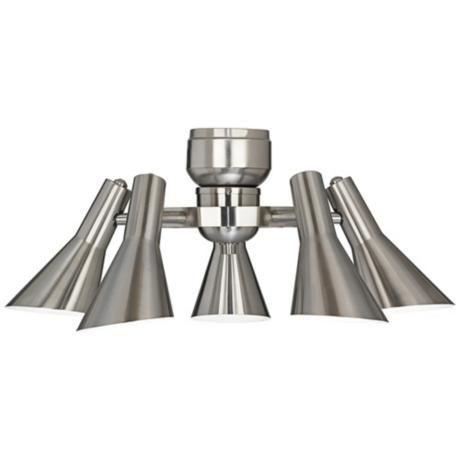 Retro brushed nickel 5 light ceiling fan light kit r1737 lampsplus com
