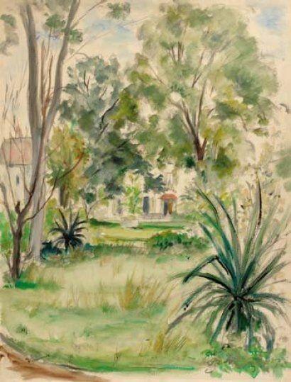 Andre Dignimont 1891 1965 Vue D Un Jardin Aquarelle Painting Art