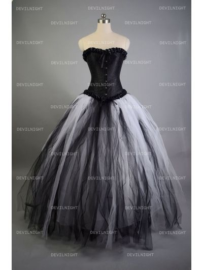 Romantic Black And White Gothic Corset Long Prom Dress Clothing