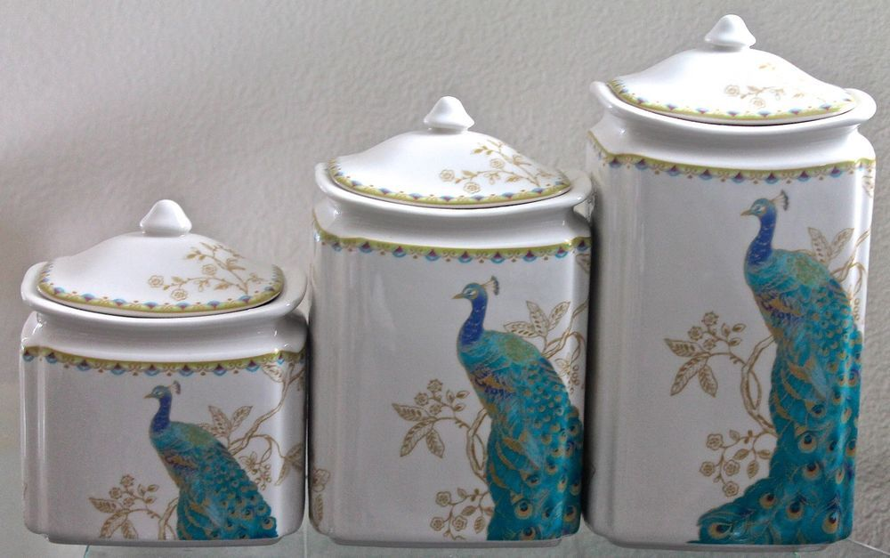 222 Fifth Peacock Garden Canisters Set Of 3 With Lids New Turquoise Gold