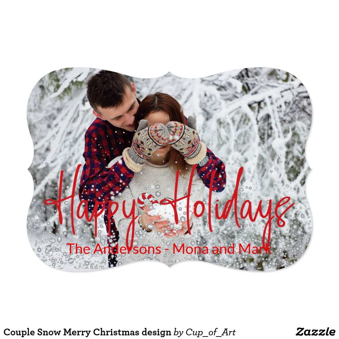 Couple snow merry christmas design holiday card zazzle