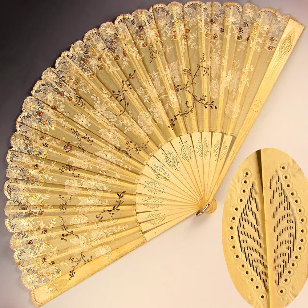 Large Antique French Silk Lace Fan, Pierced Ox Bone Sticks decorated ...