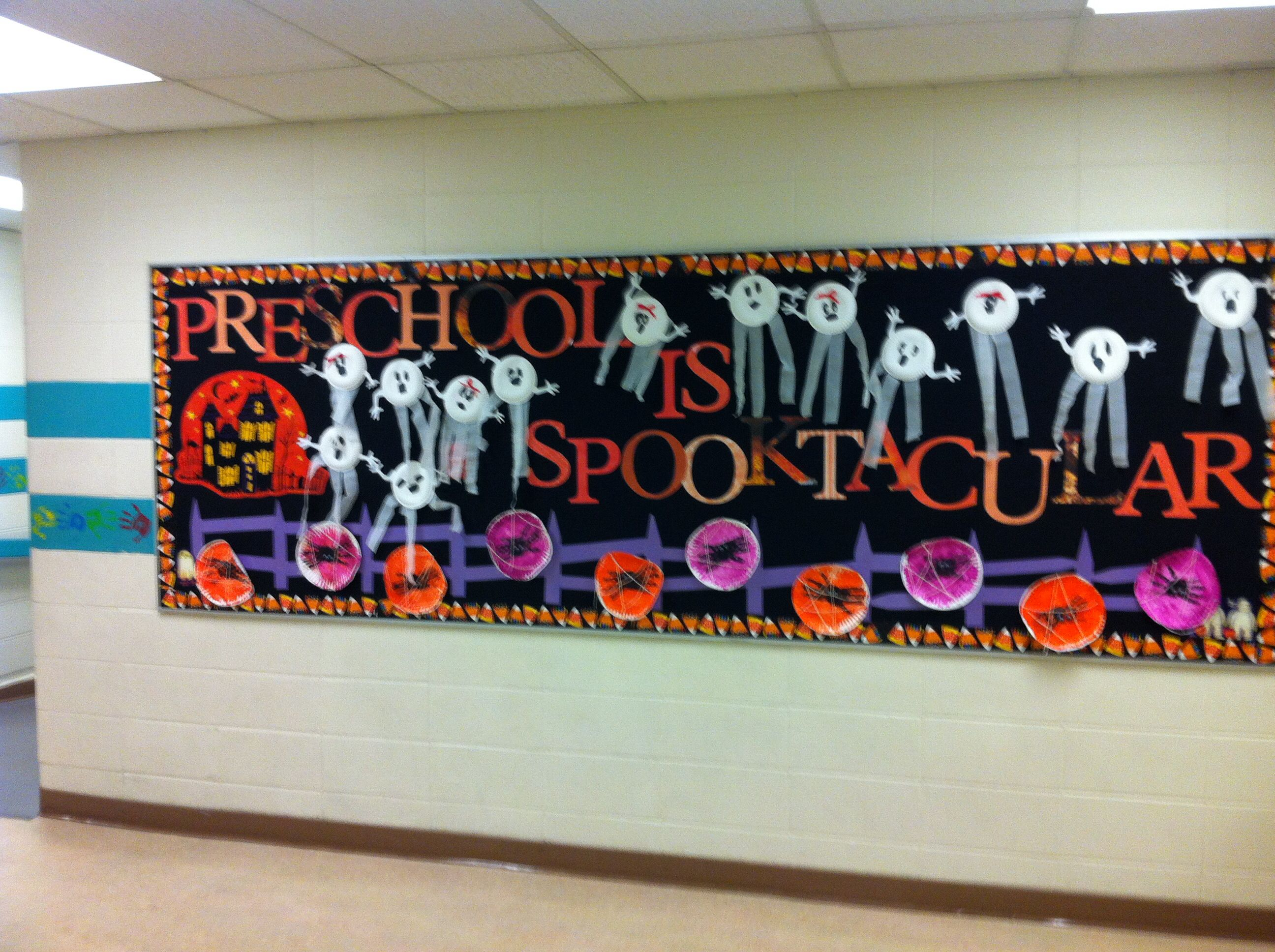 Preschool Halloween Bulletin Board Paper Plate Ghosts And Handprint Spiders