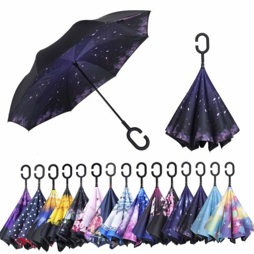 Windproof Double Layer Upside Down Inside Inverted Umbrella Reverse C-Handle New