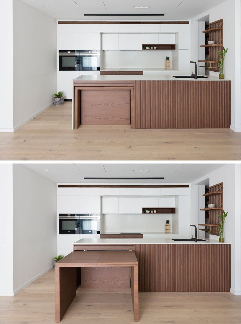 Design Detail A Dining Table Is Hidden Within This Kitchen Kitchen Room Design Kitchen Design Small Kitchen Island Dining Table