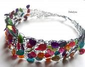 Collier ras du cou multicolore, knitted, crochet jewelry