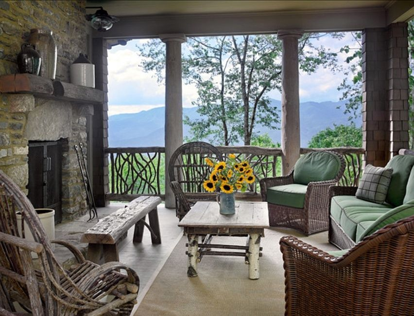 I pretty much love every single thing about this house.  I could easily live on this porch!