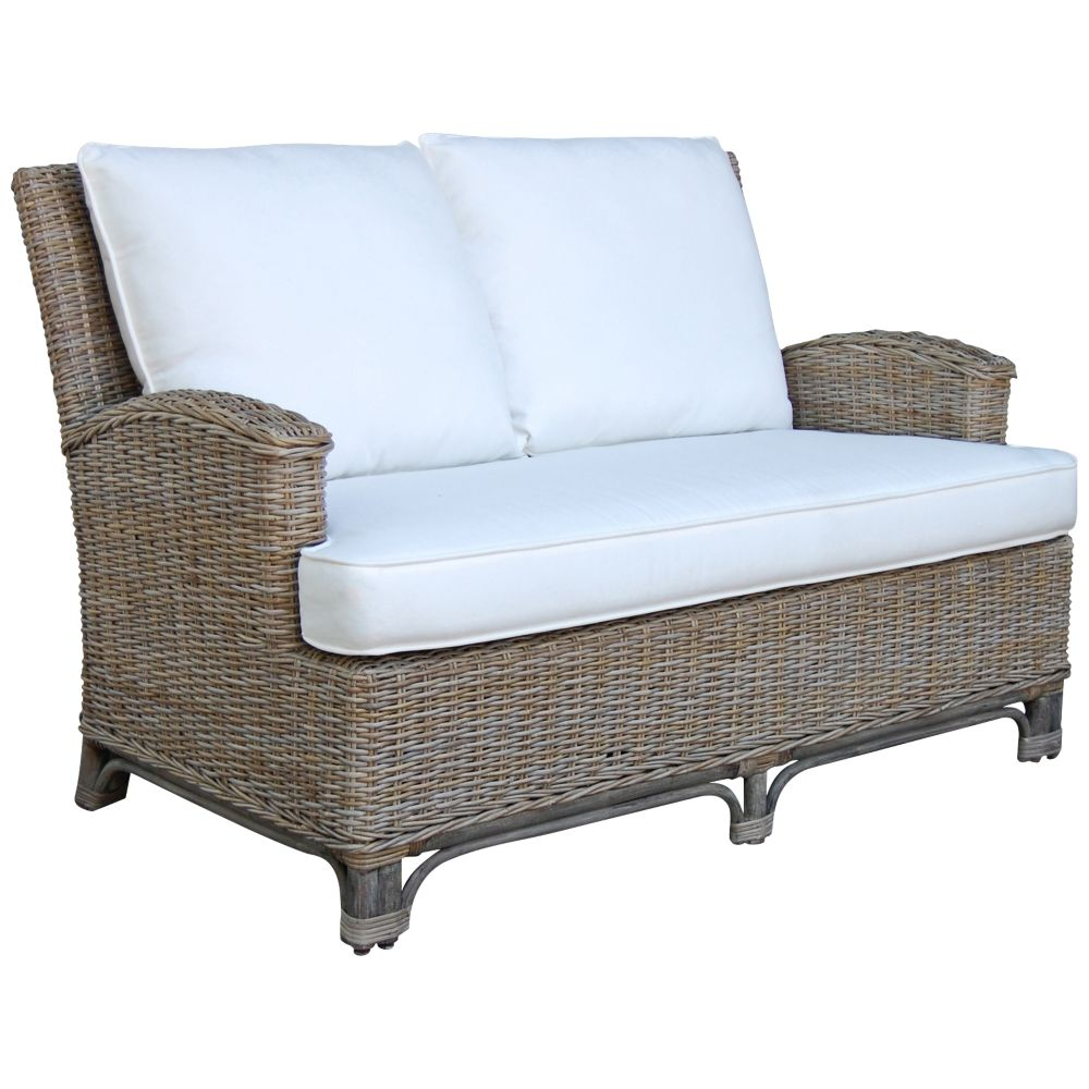 Panama Jack Exuma Cushioned Kubu Gray Wicker Loveseat