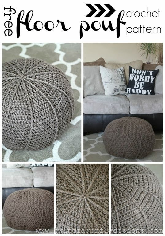 Free Crochet Floor Pouf Pattern | Patrones de crochet, Tejido y ...