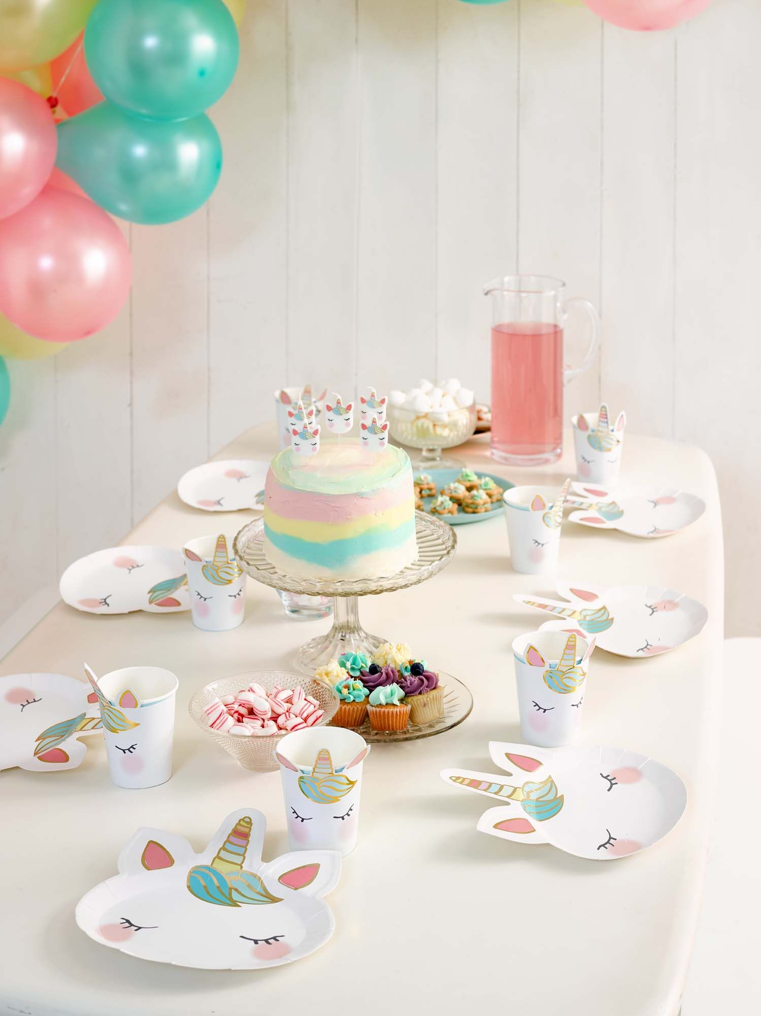 Unicorn Party table setting using our brand new shaped