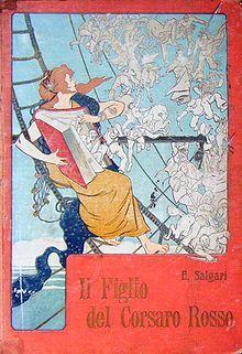 """Il Figlio del Corsaro Rosso""""; illustrazione di Alberto Della Valle (1851-1928), Ed. Bemporad"""