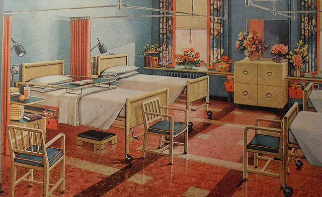 1940s modern hospital flooring advertisement vintage