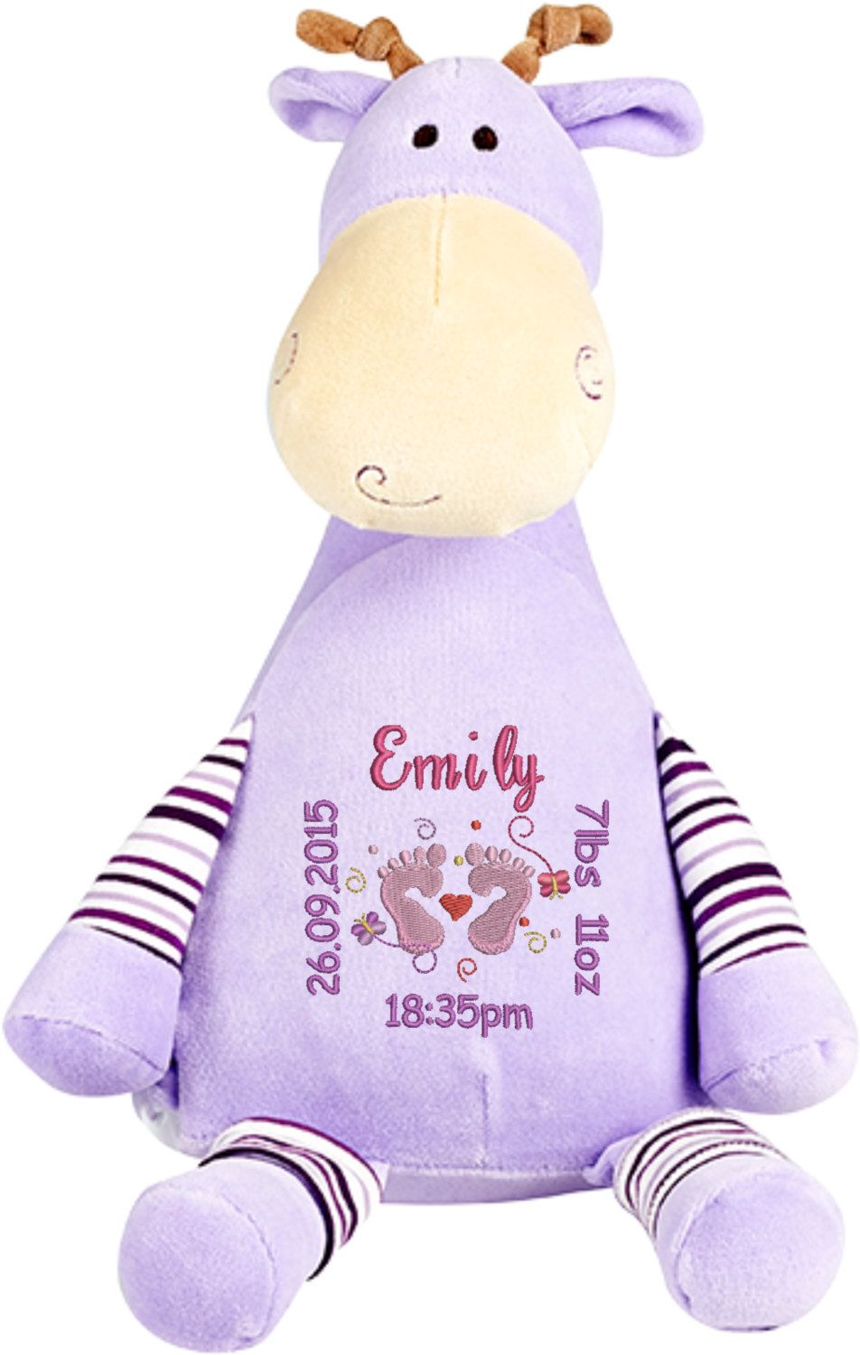Personalised lilac giraffe cubbie with birth square newborn baby personalised lilac giraffe cubbie with birth square newborn baby gift christening gift princess negle Choice Image