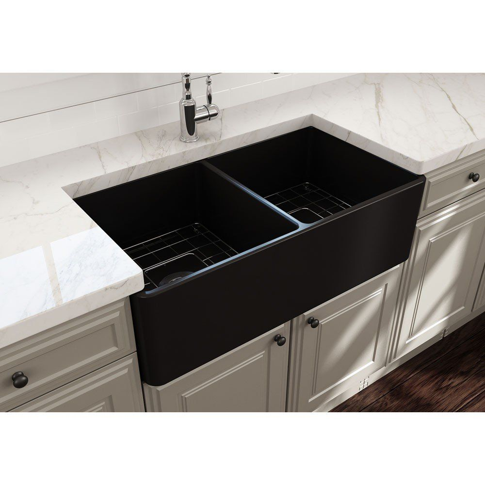 Classico 33 In Apron Front Fireclay Double Bowl Kitchen Sink With Grid And Drain In 2019 New Little House Farmhouse Sink Kitchen Single Bowl Kitchen Sink