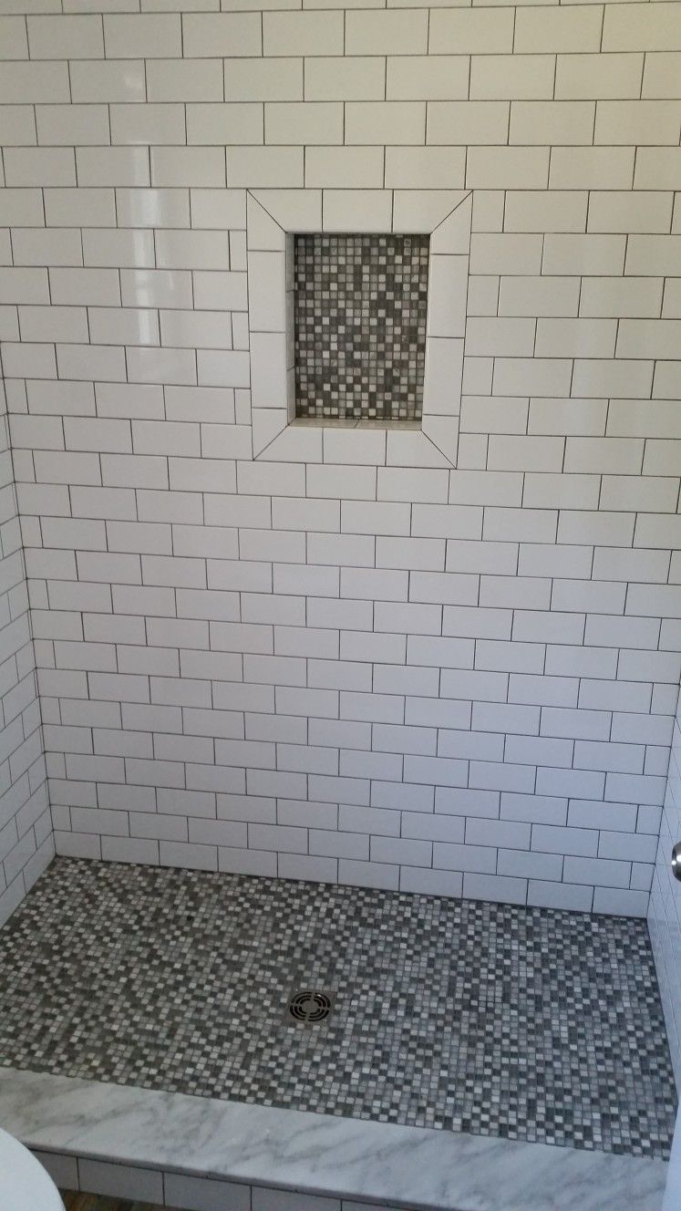 Soap Niche Edged With 3x6 Subway Tile