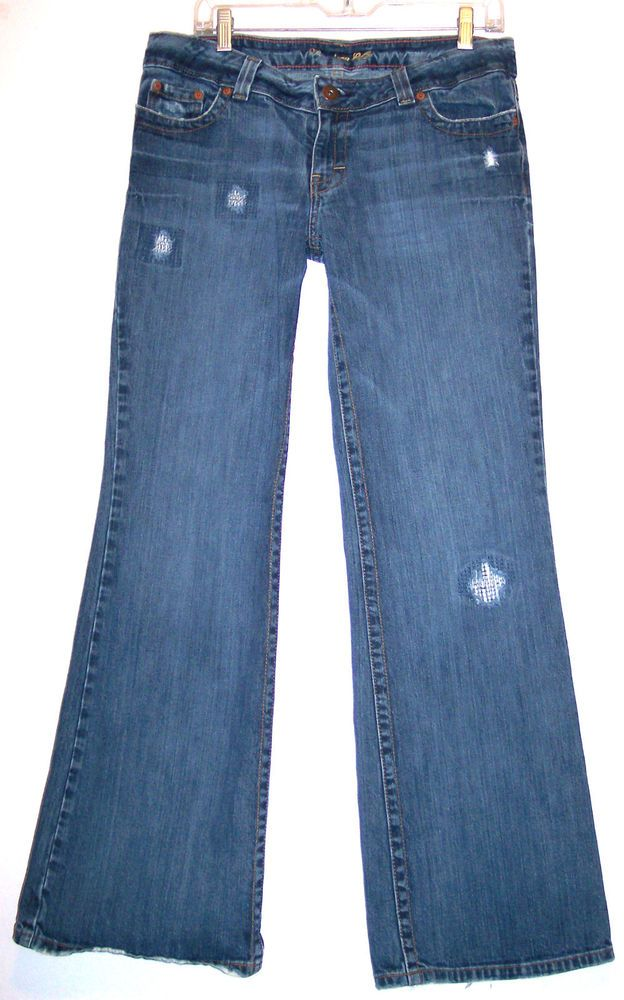 American Eagle Jeans 8 Boy Fit Factory Distressed Frayed Holes Flap Pockets Sz 8 #AmericanEagleOutfitters #Boyfriend