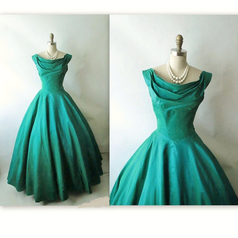 50\'s Evening Gown // Vintage 1950\'s Emerald Jade Taffeta Holiday ...