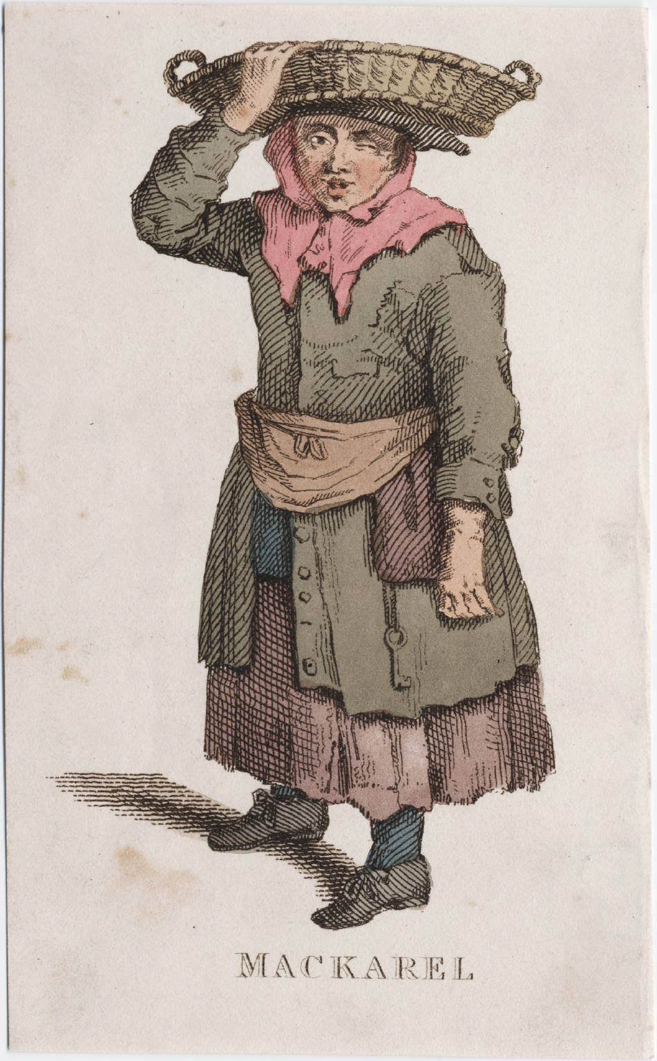 Makarel seller, apron and pocket tied over coat, England