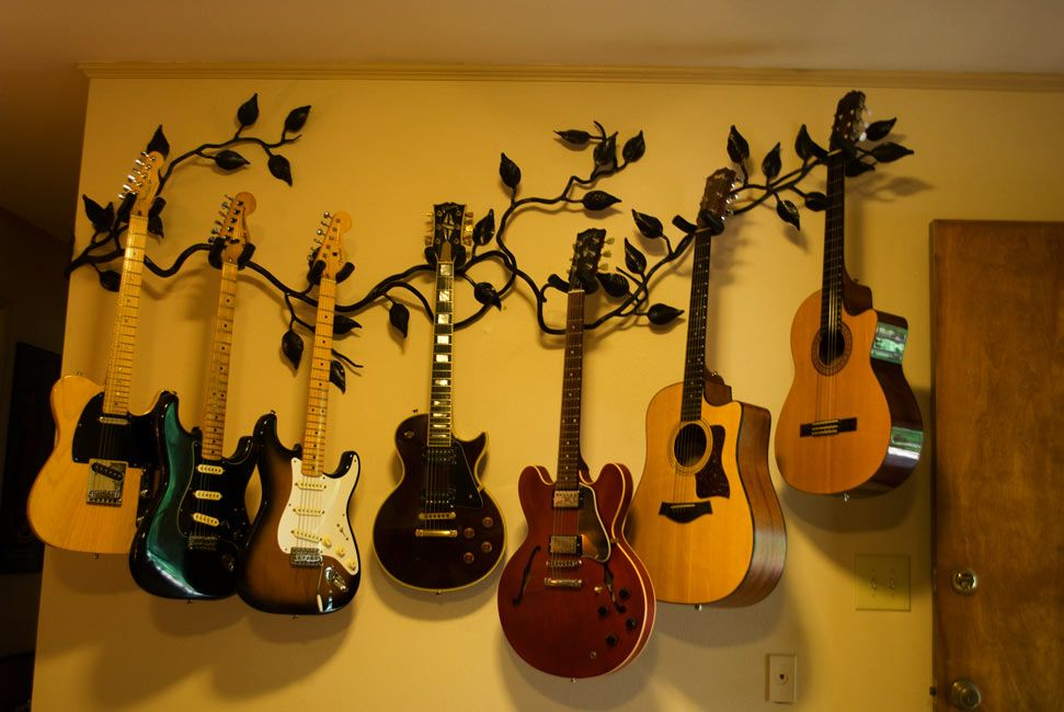 guitar wall hangers wall mount guitar hanger of forged vine and ...