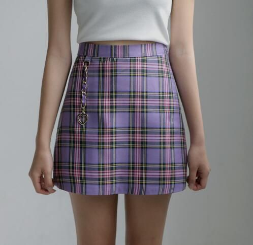 6613a3fa18 1 original Lavender Plaid Skirt With Heart Chain sold by storemacy. Shop  more products from
