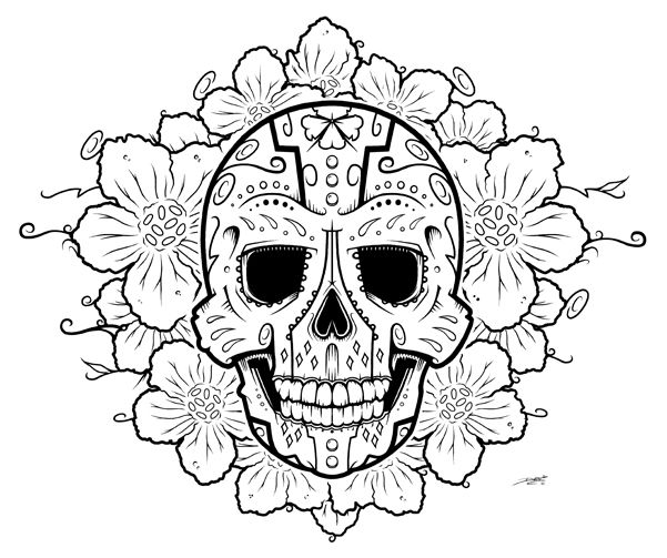 LOVE the flower around it | Tattoos | Pinterest | Dia de las muertos ...