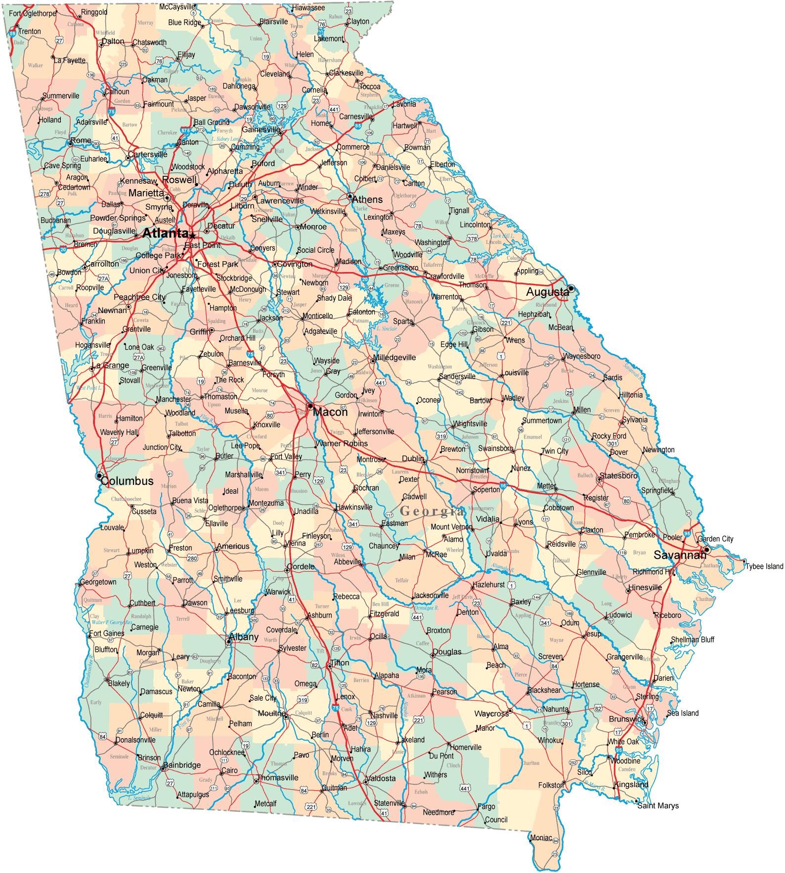 Betty S Map Of Georgia Highway Map Georgia Map Map