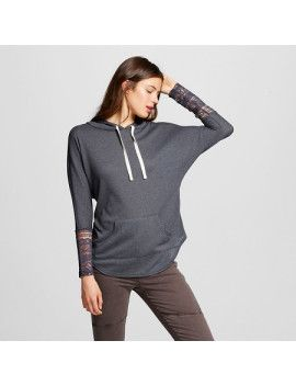 womens-crochet-sleeve-hooded-sweatshirt-grey---miss-chievous-(juniors) by target. #fashion #style #stylish #fashiontrend #awesome #shoptagr