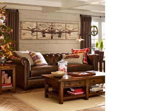 Pottery Barn Living Rooms Rustic Rustic Airplanes Red