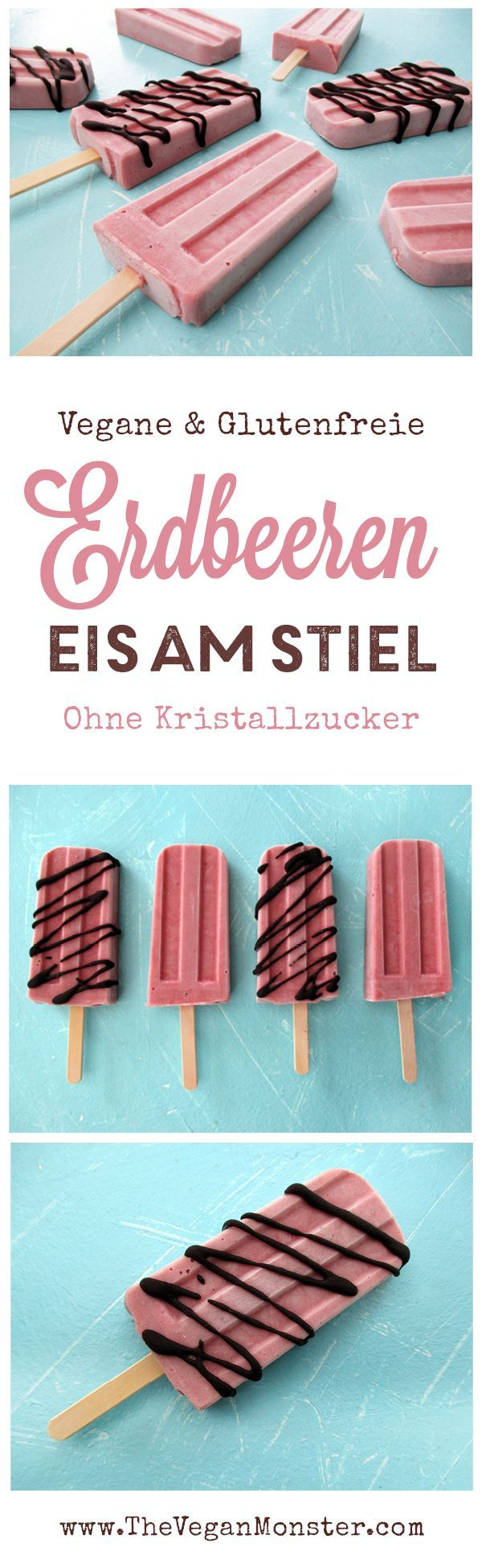 Erdbeer Eis am Stiel (Vegan, Glutenfrei, Ohne