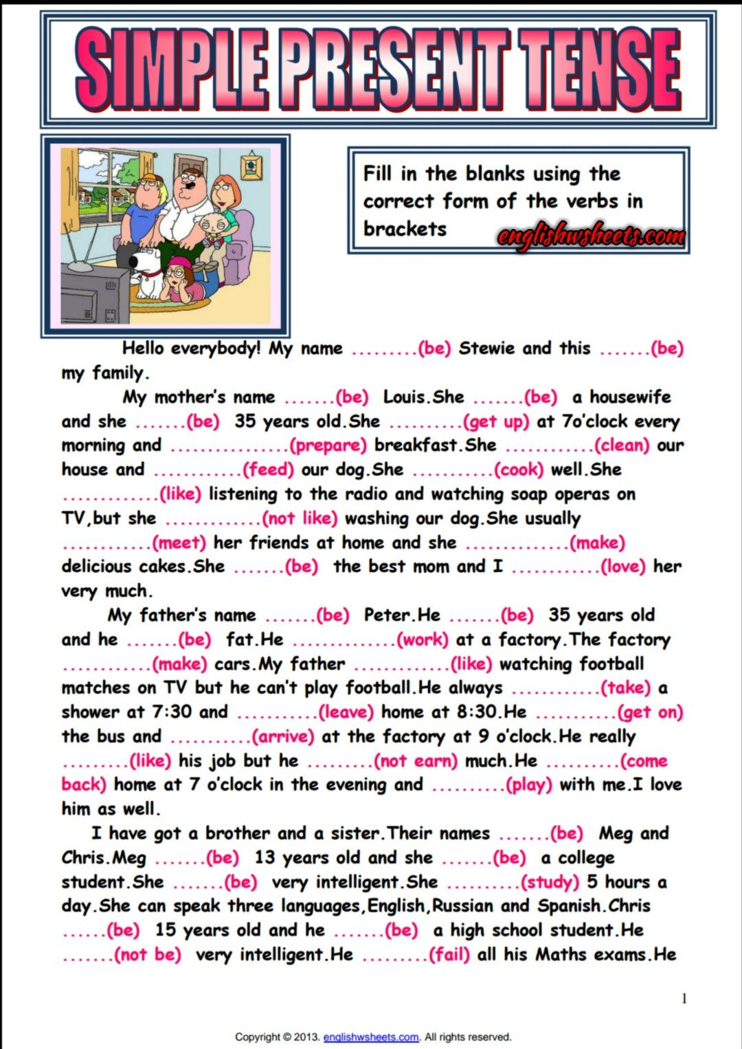Workbooks simple fill in the blank worksheets : Simple Present Tense Reading Text Gap Filling Exercise | English ...