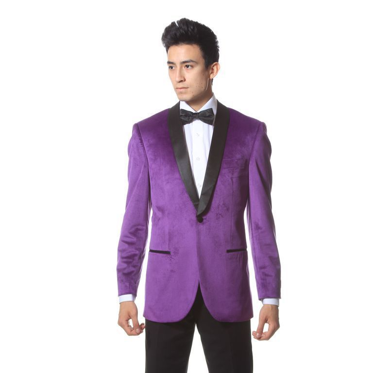 Ferrecci Premium Enzo Jacket 1-Button Blazer Slim Fit Velvet Shawl Tuxedo Purple #VelvetTuxedoBlazer