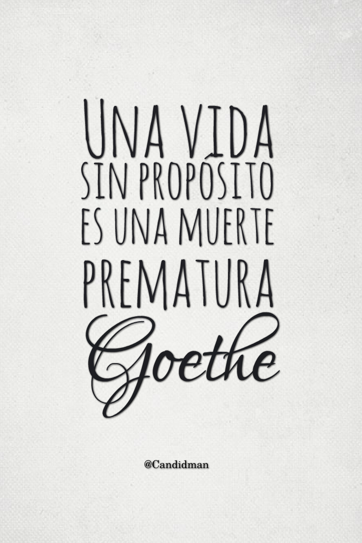 """""""Una vida sin propósito es una muerte prematura"""". #Goethe"""