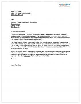 Leave Absence Letter Sample Annual Request Medical Certificate For