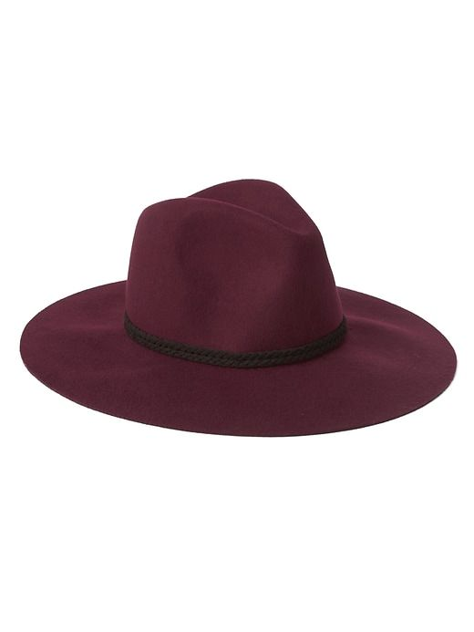 Gap Womens Wool Braid-Band Fedora Burgundy  c76e1dc736b