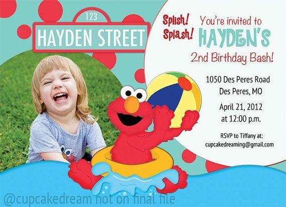 Elmo Birthday Invitation Pool Party Invitation by CupcakeDream - birthday invitation pool party