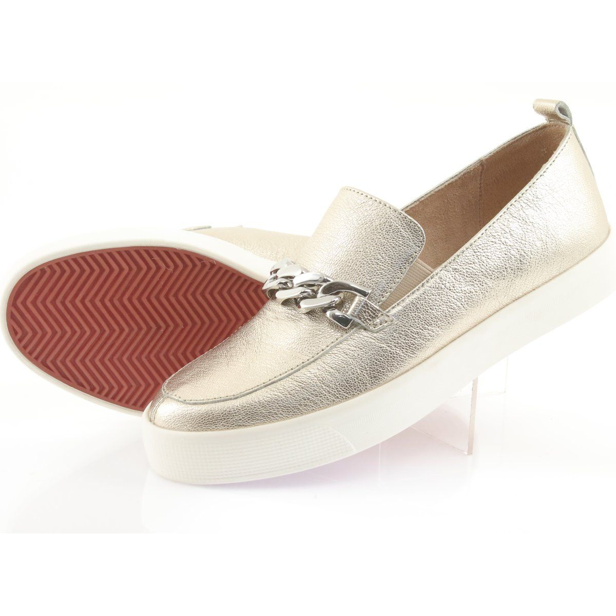 Zlote Slip On Z Lancuszkiem Caprice 24200 Zloty Slip On Shoes Loafers