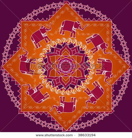 Elephant mandala with star of Lakshmi.