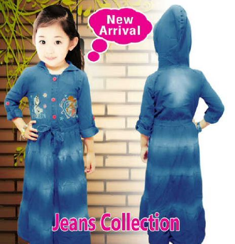 7ab4b293640 Gamis Jeans anak perempuan frozen usia 6-7-8-9-10-