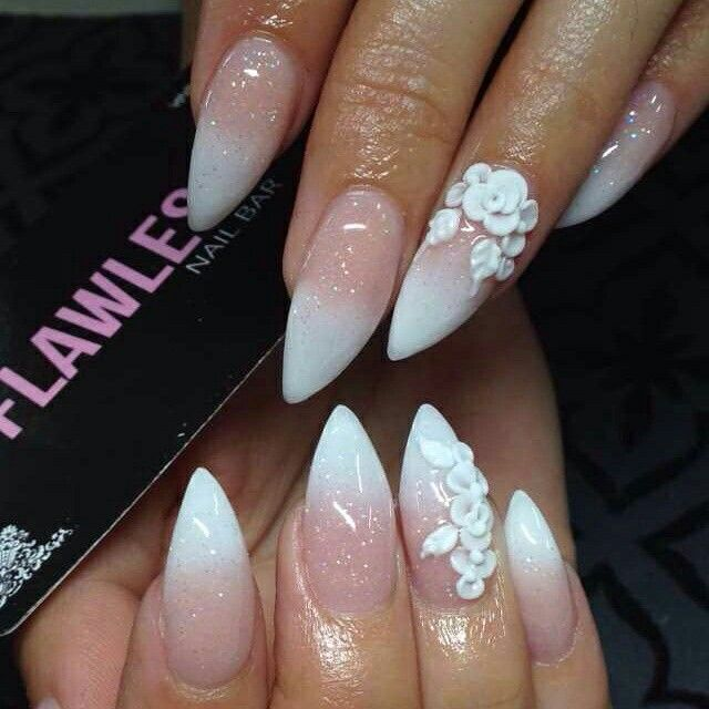 3d Flowers French Ombre Stiletto 3d Flower Nails Elegant Nails Ombre Nail Diy