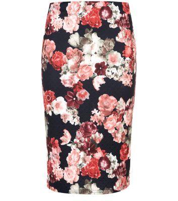 Black Jersey Floral Print Pencil Skirt