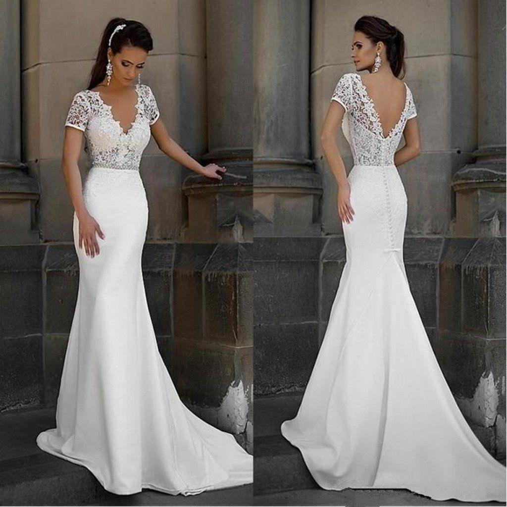Popular A Line V Neck Simple Sleeveless Lace Top Sweep Train Wedding Dresses Wd0341 Wedding Dress Train Wedding Dress Chiffon Sweep Train Wedding Dress [ 1024 x 1024 Pixel ]