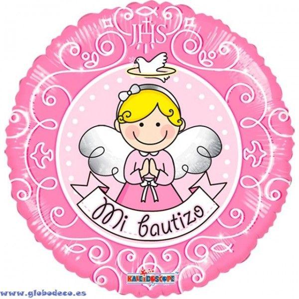 Globos De Foil Mini 9 23cm Bautizo Angel Rosa Jpg 600 600 Baby Shower Mario Characters Character