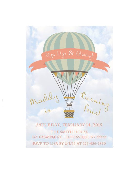 Up up and away birthday party invitation vintage hot air balloon up up and away birthday party invitation vintage hot air balloon 5x7 printable digital filmwisefo