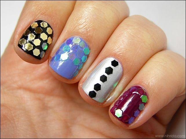 Hexagon Glitter Nail Art Nails Pinterest Glitter Nails Nail