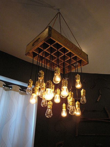 Old crate paired with Edison bulbs in this repurposed ...