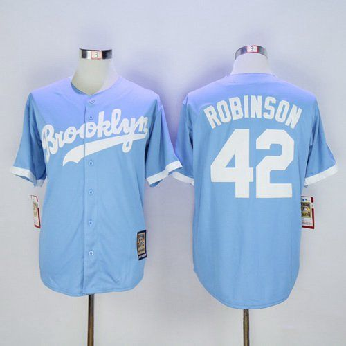 Men s Brooklyn Dodgers  42 Jackie Robinson Retired Light Blue Majestic  Cooperstown Collection Throwback Jersey d2596417435
