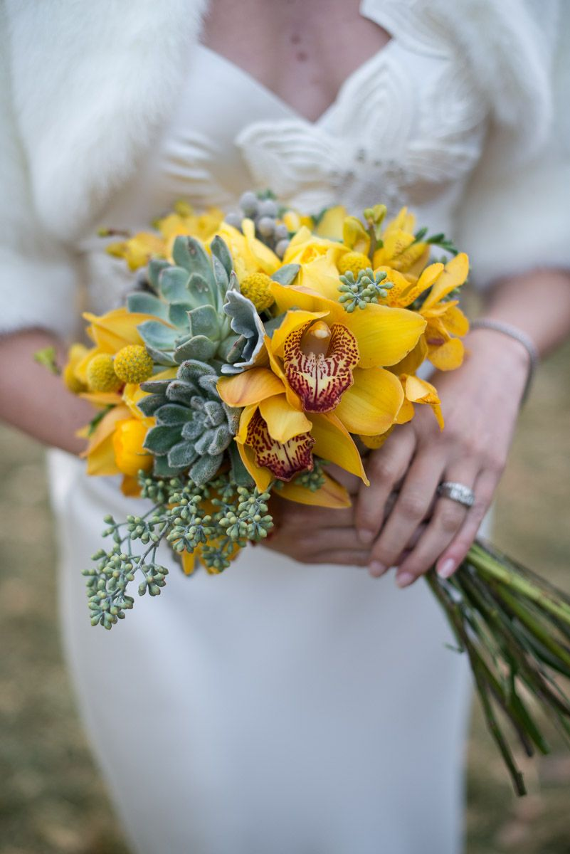 Amber Carrying A Gold Orchid Bouquet Elizabeth Fillmore Wedding