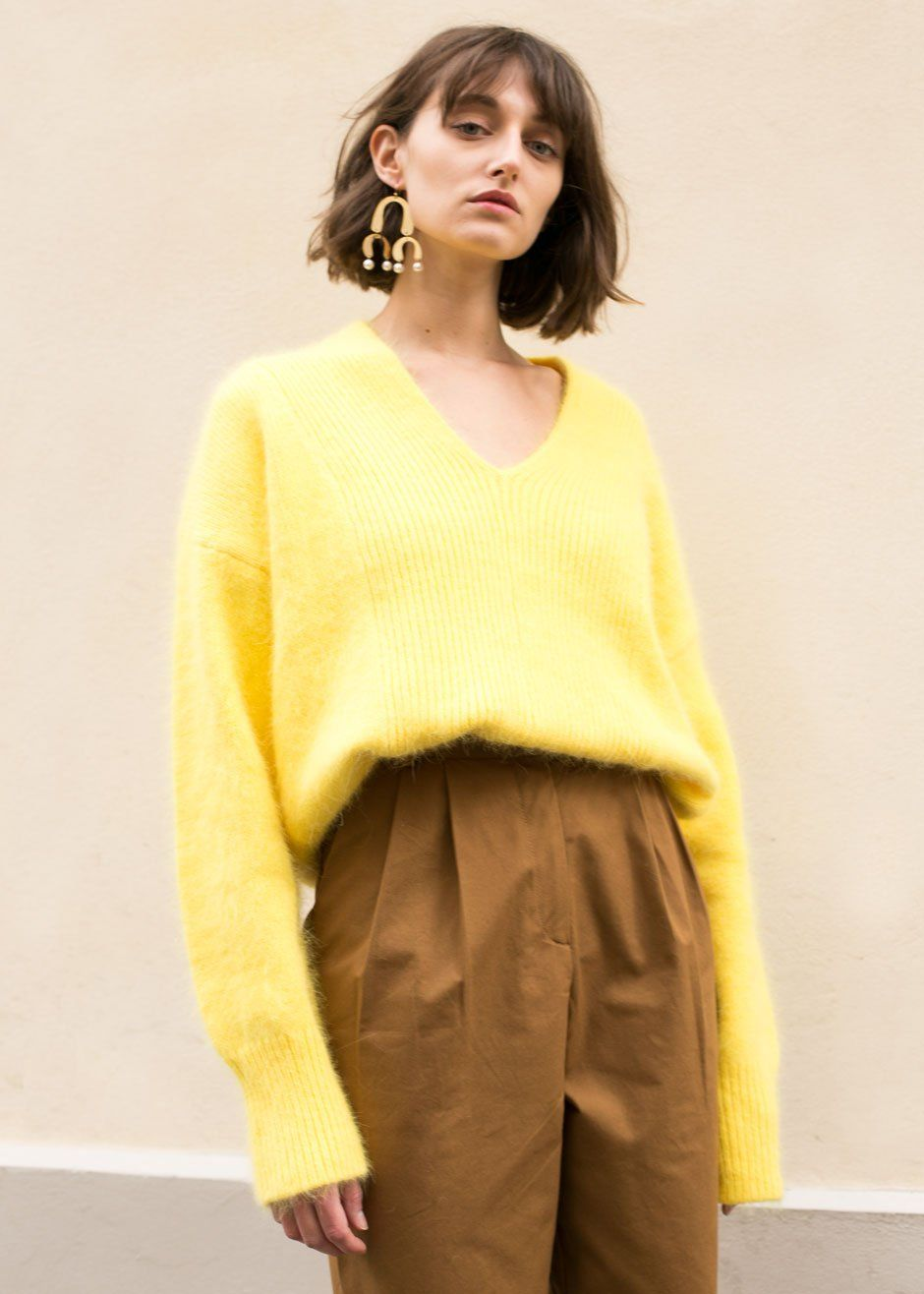 Canary Yellow V-Neck Angora Sweater | Angora sweater and Shopping