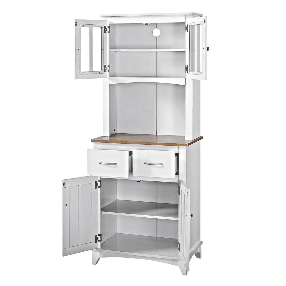 Tall Microwave Stand Hutch Cart Kitchen Cabinet Pantry Cupboard Drawer Shelves