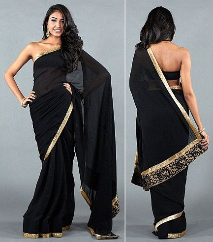 d848852bab67a5 How To Be The Showstopper At Any Size In A Black Saree | FASHION ...